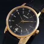 ORIENT Quartz オリエント クォーツ レディース腕時計 ピンクゴールドケース ブラック文字盤 ブラックレザーベルト MADE IN JAPAN 海外モデル SUNG6001B0
