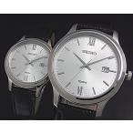 SEIKO / Quartz セイコー / クォーツ ペアウォッチ 腕時計 ブラックレザーベルト シルバー文字盤 海外モデル SUR225P1/SUR703P1