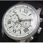 GUESS HORIZON ゲス ホライゾン メンズ腕時計 クロノグラフ ホワイト文字盤 ブラウンレザーベルト W0380G2 国内正規品