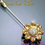 ブローチ K18YG イエローゴールド 天然シトリン5.26ct ダイヤモンド0.38ct 花型ペンダント兼ブローチ 送料無料