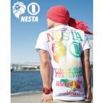 NESTA BRAND ネスタブランド×HAN-KUNコラボ 半袖Tシャツ 72NB1001B 天竺 グラデーション 半袖Tシャツ ホワイト