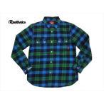 リアルビーボイス・REAL B VOICE ネルシャツ RBDN-01 ビエラチェック柄・長袖ワークシャツ ネイビー×グリーン