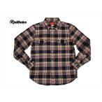 リアルビーボイス・REAL B VOICE ネルシャツ RBDN-01 ビエラチェック柄・長袖ワークシャツ ネイビー