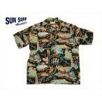 SUN SURF サンサーフ アロハシャツ SS37787 『THE SONG OF HAWAII』 レーヨン・半袖ハワイアンシャツ ブラック