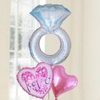 バルーン電報 結婚式 送料無料 ダイヤモンドリング&LOVEバルーン&ハート 人気のバルーンギフト