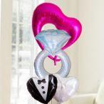 バルーン電報 結婚式 送料無料 ダイヤモンドリング&新郎新婦ウエディングバルーン 人気のバルーンギフト