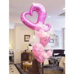 バルーン 電報 結婚式 送料無料 ピンクオープンハートウエディングブーケ 人気のバルーンギフト