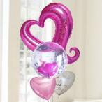 バルーン電報 結婚式 送料無料 ピンクオープンハート&カードイン&ピンク 人気のバルーンギフト