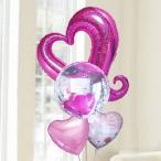 バルーン電報 結婚式 送料無料 ピンクオープンハート&カードイン&ウエディング 人気のギフト