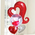 バルーン電報 結婚式 送料無料 レッドオープンハート&カードイン&スマイル 人気のバルーンギフト