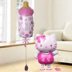 バルーン電報 出産祝い キティ 送料無料 お散歩キティ&ミルク(ガール) 人気のバルーンギフト