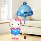 バルーン電報 出産祝い キティ 送料無料 お散歩キティ&ハット(ボーイ) 人気のバルーンギフト