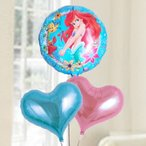 バルーン電報 結婚式 誕生日 ディズニー 送料無料   アリエル&ピンク&ブルーハート 人気のバルーンギフト