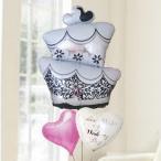 バルーン電報 結婚式 送料無料 ウエディングケーキ&ピンクハート&ウエディングバルーン 人気のバルーンギフト