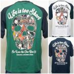 PEAK'D YELLOW ピークドイエロー半袖Tシャツ PYT-193 LIFE IS TOO SHORT アメカジ バイカー ロック お姉ちゃん 和柄