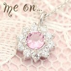 【me on...】ダイヤモンドパヴェ&ピンクトルマリン・フラワーモチーフネックレス