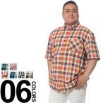 大きいサイズ メンズ カジュアルシャツ 半袖 2L 3L 4L 5L SMACK ASPIRATION チェック総柄 ポケット付き ボタンダウン