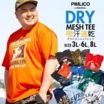 Tシャツ 半袖 大きいサイズ メンズ サカゼン DRYメッシュ カレッジプリント クルーネック ピムリコ PIMLICO