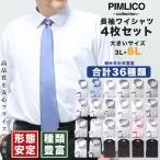 大きいサイズ ワイシャツ セット WEB限定 ワイシャツ メンズ 長袖 形態安定 大きいサイズ 4枚セット Yシャツ ドレスシャツ ボタンダウン 全9種 3L 4L 5L 6L