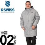 ベンチコート 大きいサイズ メンズ 撥水 消臭 ヘリンボン 中綿 グレー/ブラック 3L-6L K-SWISS