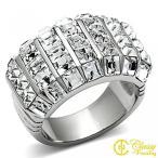 レディース アクセサリー Classy Not Trashy Women's Fashion Jewelry Ring, Premium Grade Stainless Steel Clear Top Grade Crystal Dome Style Ring Size 9