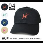 HUF (ハフ) SCRIPT CURVE VISOR 6-PANEL CAP キャップ 帽子 6パネルキャップ ストラップバックキャップ