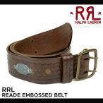 RRL by Ralph Lauren ラルフローレン ダブルアールエル Reade Embossed Belt レザーベルト メンズ バックルベルト 本革 カジュアル ビジネス LEATHER BELT