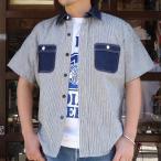 BUDDYオリジナル★SPRINGFORD★ SHORT SLEEVES 2TONE WORK SHIRT (ヒッコリー×デニム) 半袖 ワークシャツ アメカジ デニムシャツ ヒッコリーストライプ