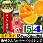 西崎さんちのネーブルオレンジ 特選ギフト (4kg 15玉) 和歌山有田産