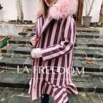 [LA FREEDOM] レディースロングコート ジャケット コスパ高い トップス 厚手 裏起毛 綿生地コート 魚裾ファ付き 羊毛 おしゃれ