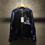 [ヨコスカ] 男女兼用 嵐鯨刺繍マーク  スカジャン リバーシブル 極道高級品 シルク ジャケット 横須賀 L~2XL 野球服 おしゃれ