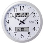掛け時計 壁掛け時計 電波時計 温度湿度計 日付表示 ダブルリンク WH マグ MAG W-711