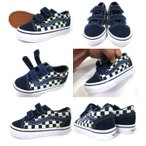 VANS ( バンズ ) Kids Old Skool V (Checkerboard) Dress Blues/Glow In The Dark ( 14.5-17.5cm ) ( スリッポン キッズ USA 子供 靴 シューズ スニーカー )
