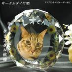 かわいいクリスタルペット位牌【ピュアラブ サークル サイズA】【UV+2Dレーザー】犬の位牌 猫の位牌 ペット供養