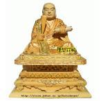 ショッピング仏像 仏像 日蓮宗 日蓮上人 総柘植高級彫り淡彩切金 3.0寸