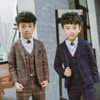 子供タキシード 男の子スーツ  フォーマル  チェック 高品質 カジュアル  セットアップ 結婚式 発表会 七五三  入学式 卒業式  90cm-150cm  3点セット Y054