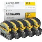(業務用5セット) キングジム テプラ PROテープ/ラベルライター用テープ 〔幅:24mm〕 5個入り SC24Y-5P イエロー(黄)