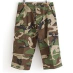 アメリカ軍 BDU クロップドカーゴパンツ /迷彩服パンツ 〔Lサイズ〕 リップストップ ウッドランド 〔レプリカ〕