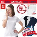 クルーネック半袖Tシャツ BVDレディース 綿100% M,Lサイズ フライス編み