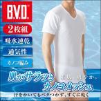 涼感 メンズインナー 吸水速乾 クールビズ 2枚組 B.V.D. カノコメッシュ V首半袖Tシャツ /Vネック/ビジネス