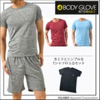 ギフト BODY GLOVE カチオン杢上下セット+クルーネック 3点セット ハーフパンツ Tシャツ ルームウェア