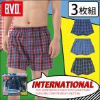 BVD トランクス 3枚組セット メンズ INTERNATIONAL 綿 下着 アンダーウェア