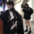 秋冬新品 スカジャン レディース ジャケット 刺繍 鶴 黒 ゆったり 原宿系 ファッション サテン スタジャン ブルゾン アウター ショートコート