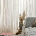 カーテン レースカーテン 半遮光 おしゃれ 北欧風 ins風 綿 リネン 遮熱 透光 UVカット 無地 白 腰窓 インテリア 丈直し フック オーダーカーテン