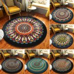 ラグマット 円形 丸型 エスニック風 ラグ カーペット リビングマット オールシーズン 洗える おしゃれ 新生活 絨毯