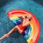 フロート 浮輪 浮き輪 うきわ 大人用 レインボー 虹 ビーチ 海 プール インスタ映え 水遊び 浮き具 夏 空気入れ付き