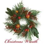 クリスマスリース 北欧風 スノー 45cm 玄関リース ドアチャーム 装飾 デコレーション X'mas 飾り 輪 緑 贈り物 造花 ギフト 年末