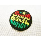 刺繍ワッペン/Smile&Punchロゴ(M)/スマイル/ニコちゃん/ラスタ/メール便送料無料/アイロン/アップリケ/CaJu+NiC[カジュニック]