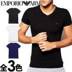 エンポリオアルマーニ メンズ Vネック 半袖 Tシャツ スリムフィット ブラック ホワイト ネイビー EMPORIO ARMANI 110810CC718