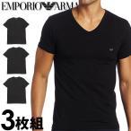 エンポリオアルマーニ メンズ Vネック 半袖 Tシャツ 3枚セット ブラック EMPORIO ARMANI 110856cc72221320